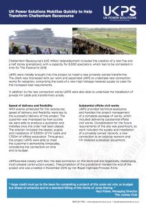 Cheltenham Racecourse UKPS case study